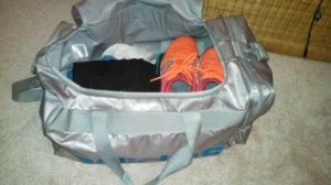 gym bag orange sneakers